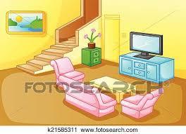 innere a haus wohnzimmer clipart k21585311