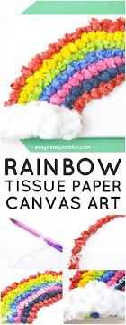 Tissue Paper Rainbow Canvas Art Idea For Kids To Make Fun Spring Craft