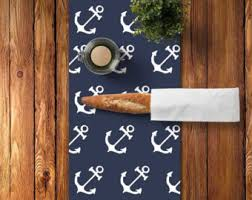 45 Colors Nautical Table Runner Anchors Navy Cotton