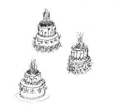 Pencil Sketch Birthday Party Fresh Flower Cake