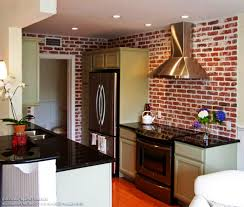 KitchenBrick Backsplash Tiles For Kitchen With Stainless Steel Hood Brick