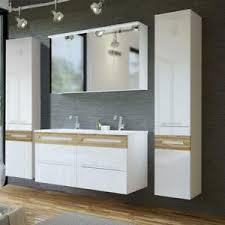 details zu badezimmer möbel bad set keramik doppel waschtisch m unterschrank hochglanz weiß