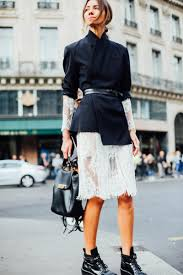 paris fashion week street style lace white midi dress with