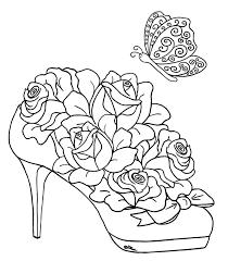 Flower Butterfly Rose Shoe Coloring Pages Colouring Adult Detailed Advanced Printable Kleuren Voor Volwassenen Coloriage Pour