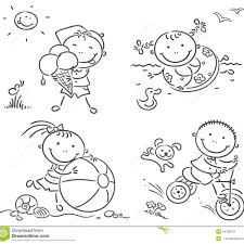 Summer Kids Activities Outdoors Stock Vector Illustration Of Regarding Children Playing Outside Clipart Black And White