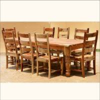 Furniture Rustic Dining Room Table Sets With Eight Chair Real Wood Kitchen And