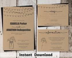 Wedding Invitation Template Mason Jar Rustic Printable Set Kraft Paper Easy Editable Pdf Instant Download Twinkle