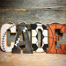 Vintage Baseball Crib Bedding by Sports Letters Hand Painted Wall Letters Wood Nursery