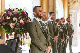 Bella Collina Breathtaking Ox Blood Gold Wedding Groomsmen