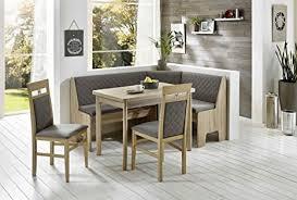 eckbankgruppe kameli ii essgruppe 165 x 125 x 86 vierfußtisch 2 stühle modern eckbank küchentisch 4 teilig küche polsterung grau braun buche massiv