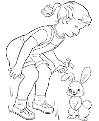 Little Girl Feeding Easter Bunny Coloring Page