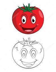 Personnage De Dessin Animé De Sourire Tomate Livre à Colorier