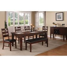 Antique Walnut Finish Dining Table Chairs Bench 4 And Style ...