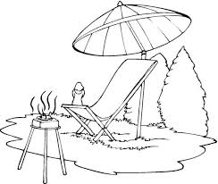 Lounge Chair Beach Umbrella Coloring Page