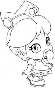 Baby Princess Peach With Mario Coloring Pages