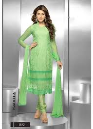 buy casual wear green dress material online