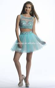 ice blue two piece prom dress short tulle dress blue beaded short