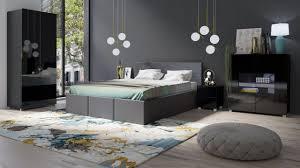 schlafzimmer komplett set 5 tlg labri grau schwarz hochglanz