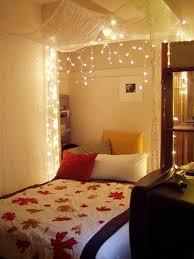 Bright Brown Wood Bed Frame String Lights For Bedroom Tar