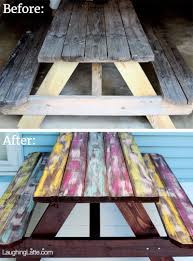 laughing latte diy colorful weathered picnic table laughing latte