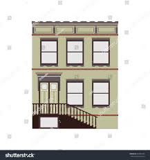 100 Townhouse Facades Beautiful Detailed Cityscape Small Town Stock