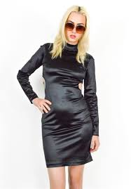 Vintage 90s Black Cut Out Body Con Dress