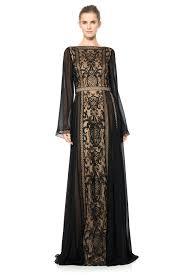 long sleeve chandelier lace and chiffon gown tadashi shoji