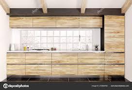 Modern White Kitchen Interior 3d Rendering Stockfoto Und Modern Wooden Kitchen With White Counter Interior 3d Rendering 212835762