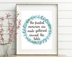 The Fondest Memories Are Made Gathered Around Table Printable Dining Room Wall Art Decor
