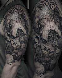 Hand Tattoo Wolf Man Design