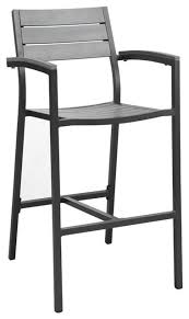 Modway Modway Maine Patio Bar Stool in Brown and Gray View in