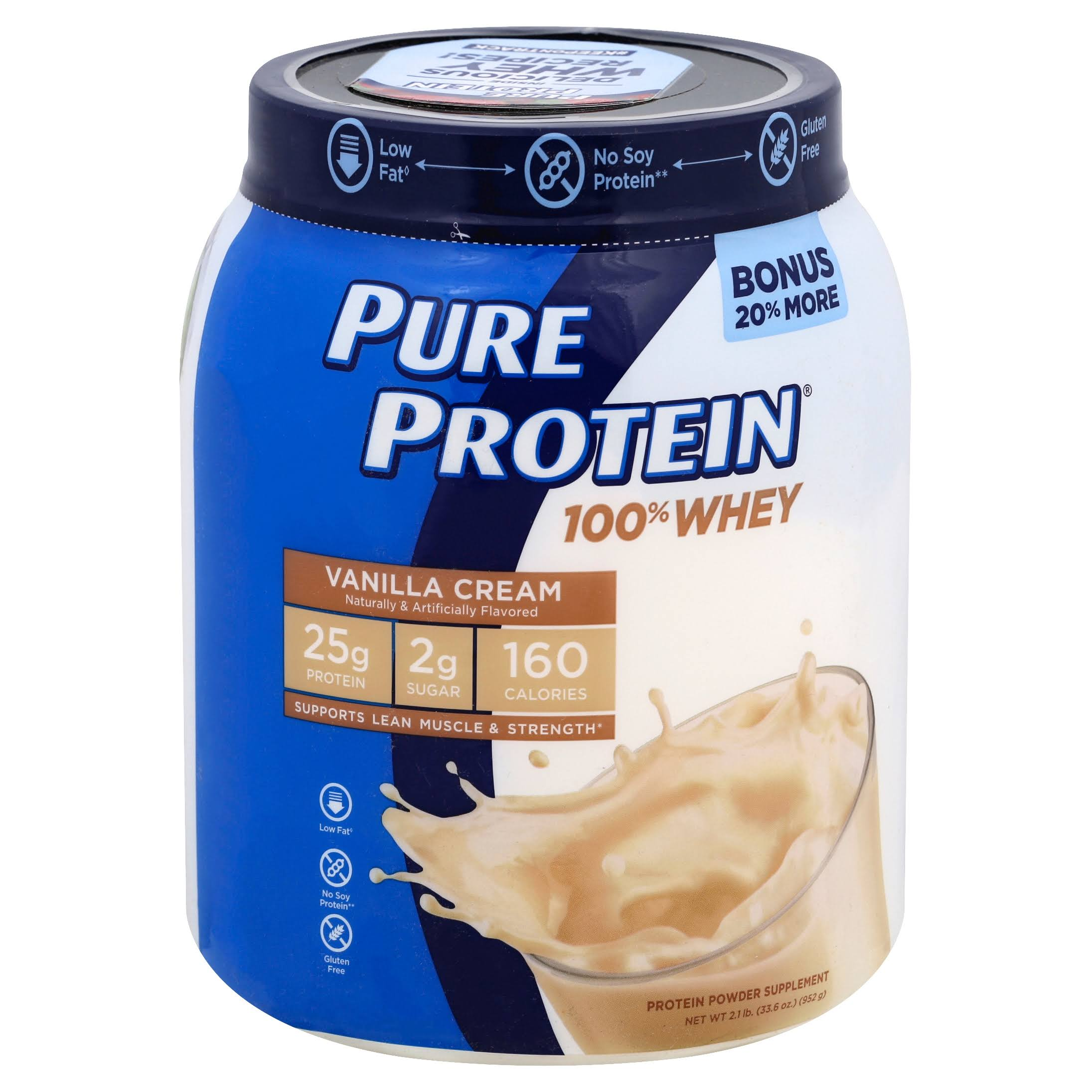 Pure Protein 100% Whey Protein Powder - Vanilla Cream, 28oz