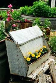 Rustic Garden Planters Great Idea For An Old Hog Feeder I Have In The Barn