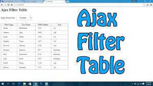 Jquery Ajax Filter Table