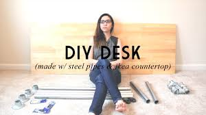 diy desk made w steel pipes u0026 ikea countertop catabot youtube