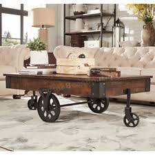 Item 6 Industrial Coffee Table Wood Metal Wheels Rustic Farmhouse Modern Vintage Style