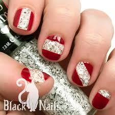 Maroon and Geometric White Glitter Nail Design