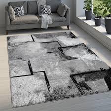 teppich wohnzimmer kurzflor vintage modernes abstraktes muster geometrisch grau