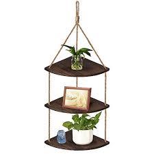 medla hängendes regal ecke hängeregal aus holz wandregal schweberegal seil mit 3 ablagen für wohnzimmer küche badzimmer deko bis 15kg belastbar