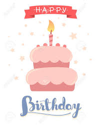 Happy birthday template poster with pink cake with one candle red ribbon