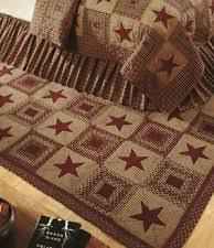 Country Star Wine Rectangle Braided Jute Area Rug Primitive IHF