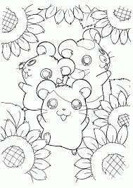Three Happy Hamsters With Sun Flower Coloring Page