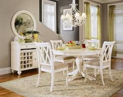 Rustic Modern Dining Room Design With Vintage Furniture And 54 Round Wood Pedestal Table Painted White Color 4 Chairs Under Hanging Lamp