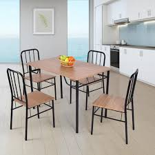 Costway 5 Piece Dining Set Table And 4 Chairs Metal Wood Home Kitchen  Modern Furniture - As Pic Kings Brand Fniture 3 Piece Bronze Metal Square Ding Kitchen Dinette Set Table 2 Chairs Elixir 80in Rectangular With Base By Hooker At Dunk Bright Costway 5 4 Wood Breakfast Chic Gray Room With Rustic And Vintage Louis Pair Of Silver Velvet Mirrored Legs Vida Living Tempo Glass C1860p Industrial Round Lifestyle Sam Levitz Fixer Upper A Contemporary Update For A Family Sized House Hot Item Cheap Leg Chair Vecelo Sets Pcs Embossed White Montello 3piece Old Steel