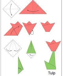 Origami Tutorial Paper Folding Oragami Children Art Projects Plastique Tulp Vouwen