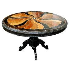 19th Century British Colonial Pedestal Table With Inlaid Top West Indies StyleBritish