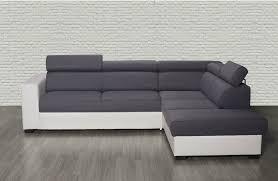 canap d angle convertible gris canapé d angle droit auxane convertible avec têtières gris et blanc