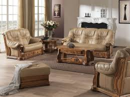 canapé cuir et bois rustique ensemble canapé rustique cuir chêne massif ensemble canapé meubles