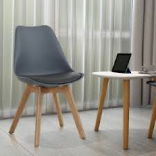 details zu 2 x design stühle esszimmer stuhl holz kunststoff kunst leder plastik grau