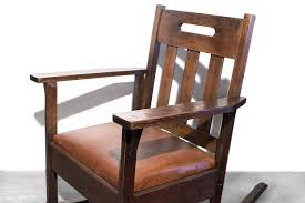 sold stickley style rocking chair with brown leather circa 1925